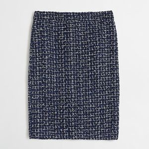 J. Crew Blue Tweed Wool Pencil Skirt